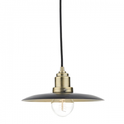 Dar Lighting HAN0154 Hannover 1 Light Pendant Black/Antique Brass