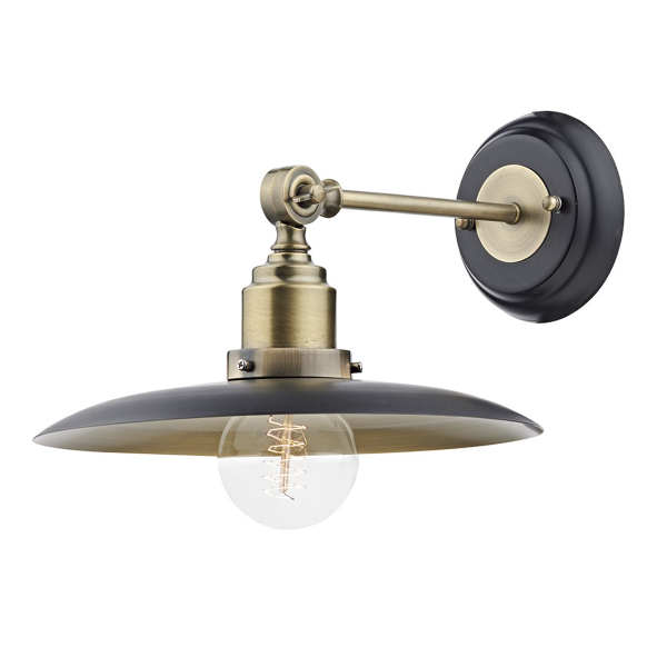 Dar Lighting HAN0754 Hannover 1 Light Wall Bracket Black/Antique Brass