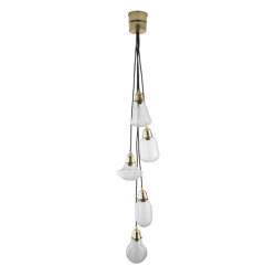 Dar Lighting LAS0540 Lashira 5lt Cluster Pendant Polished Brass & Glass