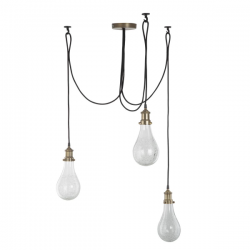 Dar Lighting MOZ0375 Mozelle Cluster Pendant Antique Brass & Glass