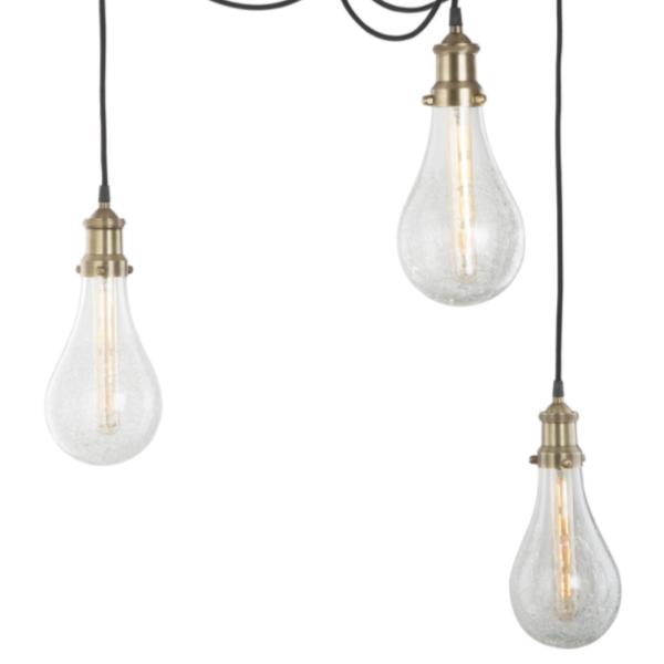 Dar Lighting MOZ0375 Mozelle Cluster Pendant Antique Brass & Glass