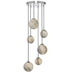 Dar Lighting MIK0650 Mikara 6 Light Cluster Pendant Marble Effect Glass & Polished Chrome