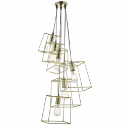 Dar Lighting TOW0635 Tower 6 Light Cluster Pendant Gold