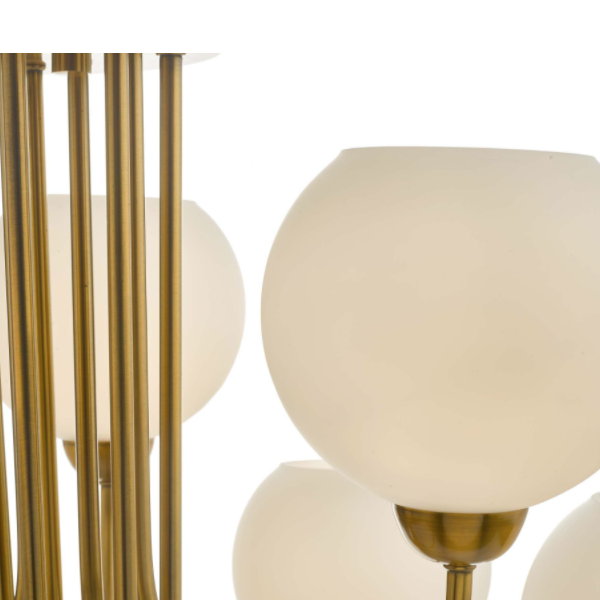 Dar Lighting IND1335 Indra 9 Light Pendant Natural Brass With Opal Glass
