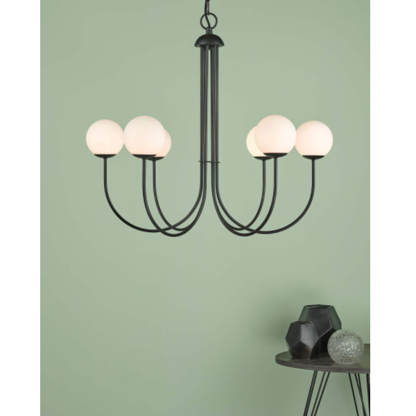 Dar Lighting ORN0622 Ornella 6 Light Pendant Matt Black & Opal Glass