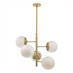 Dar Lighting BOM0535 Bombazine 5lt Pendant Natural Brass & Opal Glass