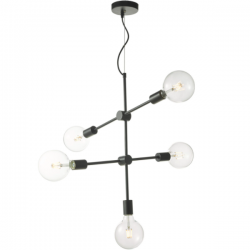 Dar Lighting YON0522 Yonah 5 Light Pendant Black