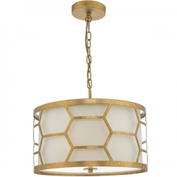 Dar Lighting EPS0312 Epstein 3 Light Pendant Gold & Ivory