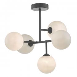 Dar Lighting EUA5422 Euan 5lt Semi Flush Black & Opal Glass
