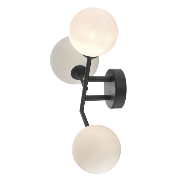 Dar Lighting EUA3022 Euan 3lt Wall Light Black & Opal Glass