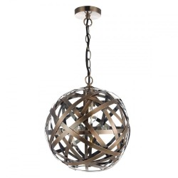 Dar Lighting VOY0164 Voyage 1 Light Pendant Antique Copper Ball