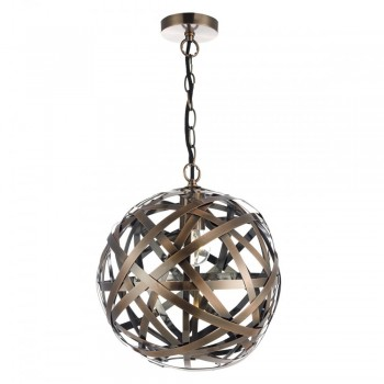 Dar Lighting VOY0164 Voyage 1 Light Pendant Antique Copper Ball