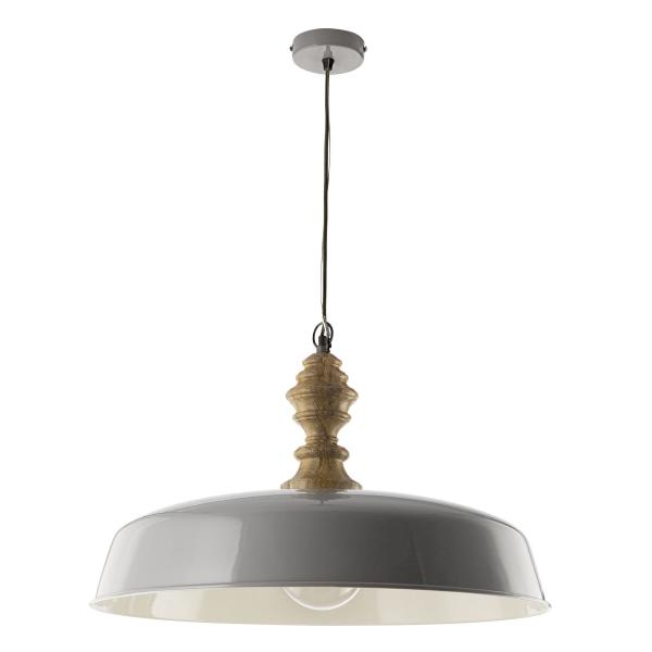 Dar Lighting VAD0139 Vadna Pendant Grey & Wood