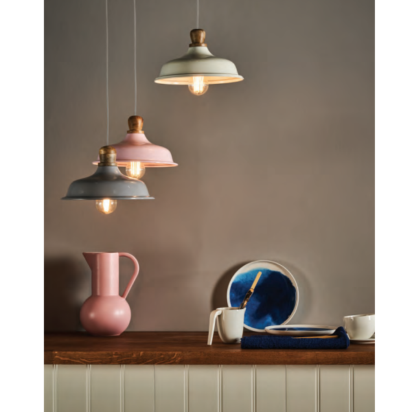 Dar Lighting TYG0103 Tygo Pendant Pink & Wood