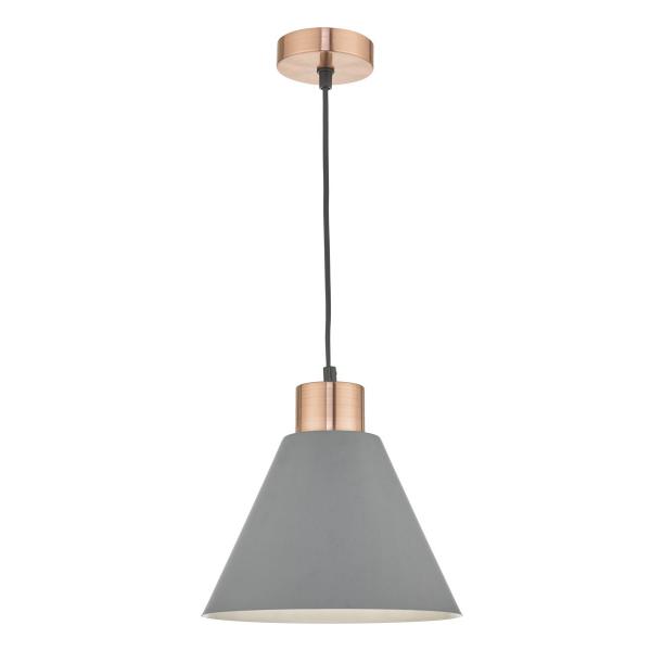 Dar Lighting ZOC0139 Zocalo 1lt Pendant Grey & Copper