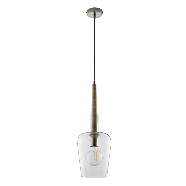 Dar Lighting MUM0148 Mumbai Pendant Wood & Glass