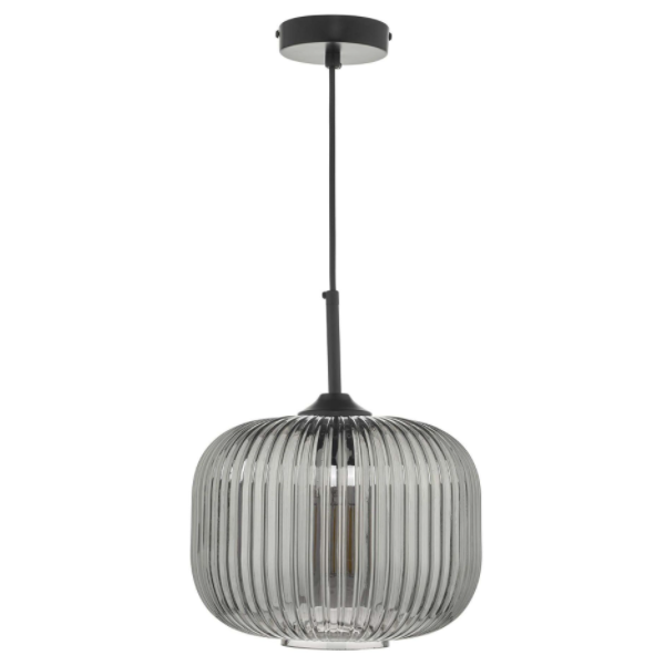 Dar Lighting DEM0110 Demarius 1 Light Pendant Black and Smoked Glass