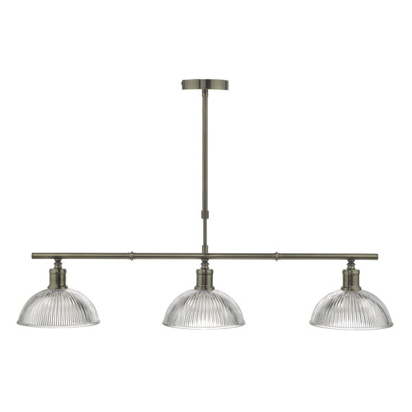 Dar Lighting DAR0375 Dara 3lt Bar Pendant Antique Brass & Glass