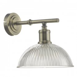 Dar Lighting DAR0775 Dara Wall Light Antique Brass & Glass