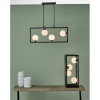 Dar Lighting ENS0422 Ensio 4 Light Pendant Matt Black & Opal Glass