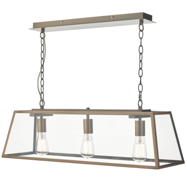 Dar Lighting ACA0364 Academy 3 Light Bar Pendant Antique Copper