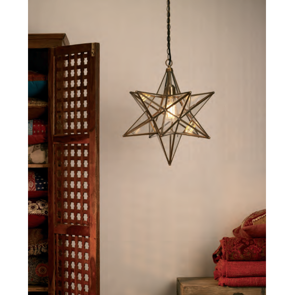 Dar Lighting ILA8675 Ilario Pendant Antique Brass & Glass