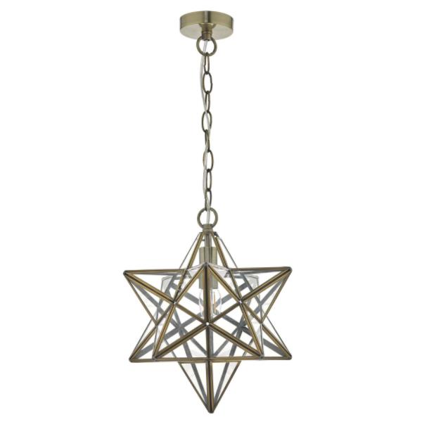 Dar Lighting ILA8675 Ilario Pendant Antique Brass & Glass