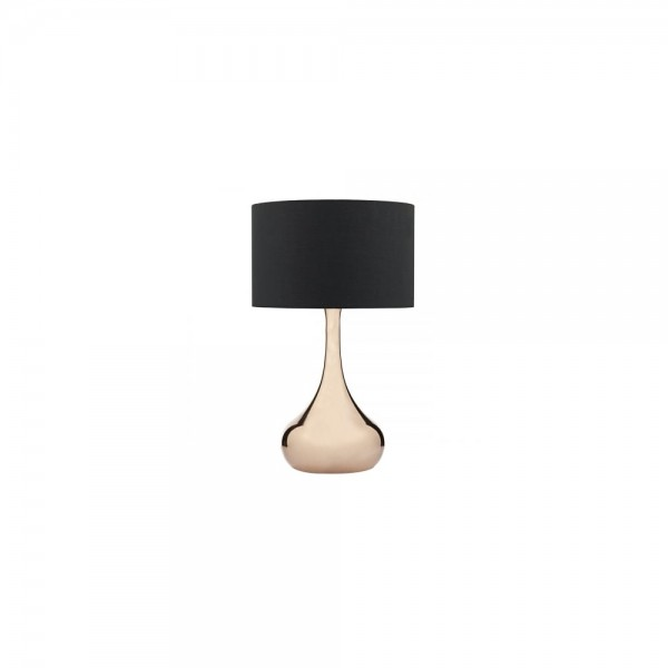 Dar Lighting WEN4264 Wendell Table Lamp Large Copper Complete With Black Shade