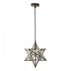 Dar Lighting ILA0175 ILARIO 1 Light Star Pendant Antique Brass Glass Small