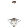 Dar Lighting REI0175 Reign Pendant Antique Brass & Glass