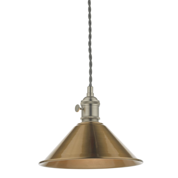 Dar Lighting HAD0161-01 1LT Pendant Antique Chrome C/W Aged Brass Shade