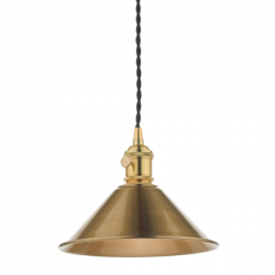 Dar Lighting HAD0140-01 1LT Pendant Natural Brass C/W Aged Brass Shade