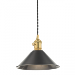 Dar Lighting HAD0140-02 1LT Pendant Natural Brass C/W Antique Pewter Shade
