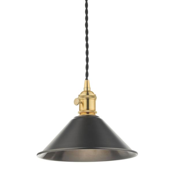 Dar Lighting HAD0140-02 1LT Pendant Natural Brass C/W Antique Pewter Shade