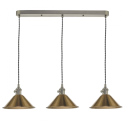 Dar Lighting HAD3661-01 3 Light Antique Chrome Suspension With Aged Brass Shades