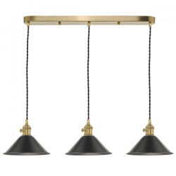 Dar Lighting HAD3640-02 3 Light Brass Suspension With Antique Pewter Shades