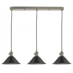 Dar Lighting HAD3661-02 3 Light Antique Chrome Suspension With Antique Petwer Shades