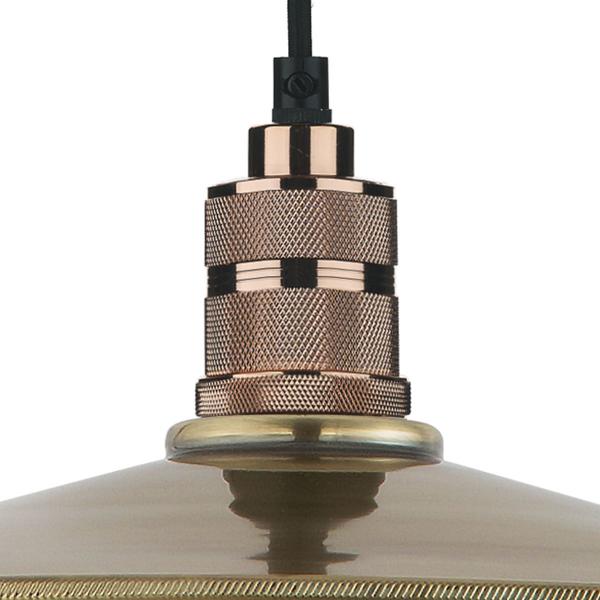 Dar Lighting SAU6575 Saucer Easy Fit Pendant Small Antique Brass