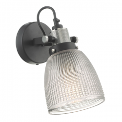 Dar Lighting ISM0722 Ismet Wall Light Black Polished Chrome And Textured Glass