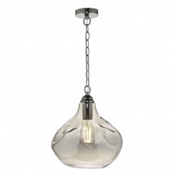 Dar Lighting ESA0110 Esarosa 1 Light Pendant Black Chrome And Smoked Glass