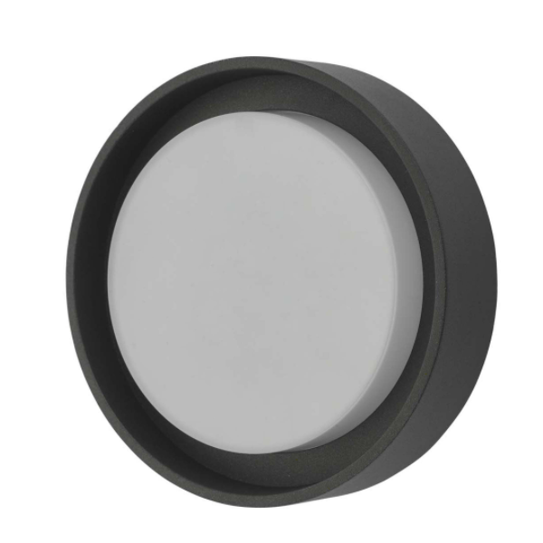 Dar Lighting RAL5239 Ralph Round Flush Small Anthracite IP65 LED