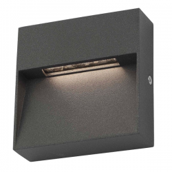 Dar Lighting YUK2139 Yukon 1 Light Wall Light Square Eyelid Anthracite IP65 LED