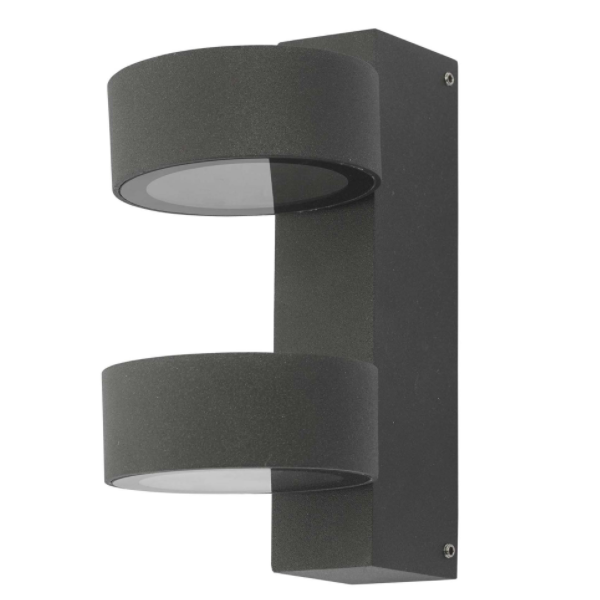 Dar Lighting BOH0939 Bohdan Wall Light 2 Circle Anthracite IP65 LED