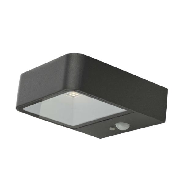 Dar Lighting NOX2139 Noxolo Wall Light Square Anthracite Solar Power PIR Sensor IP65 LED