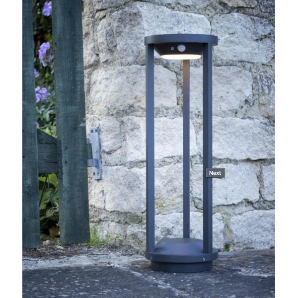 Dar Lighting ALA0646 Vox Post Anthracite Solar Powered PIR Sensor IP65 LED