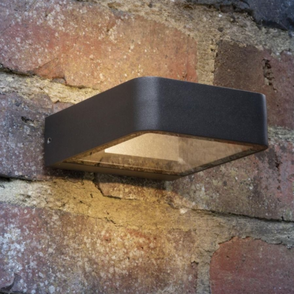 Dar Lighting MAL3239 Malone Wall Light Square Anthracite IP65 LED