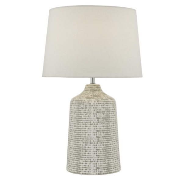 Dar Lighting VON4239 Vondra Table Lamp White & Grey With Shade