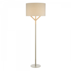 Dar Lighting EAT4939 Eatu Floor Lamp Wood & Grey C/W Shade