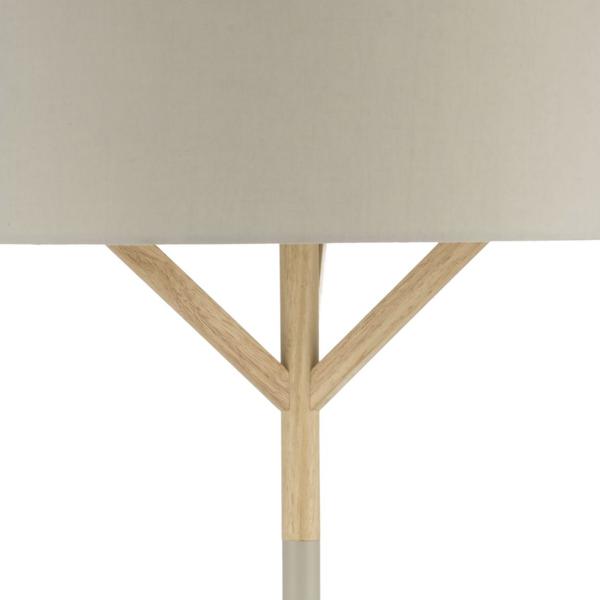 Dar Lighting EAT4939 Eatu Floor Lamp Wood & Grey C/W Shade