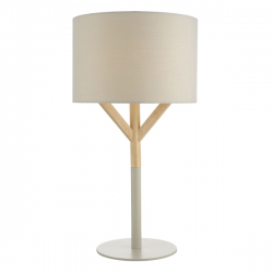 Dar Lighting EAT4239 Eatu Table Lamp Wood & Grey C/W Shade